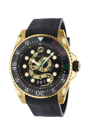 Gucci Men's Dive King Snake Gold PVD Watch with Rubber Strap