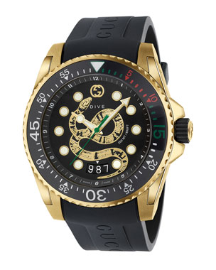 2a08bfd724f2e Gucci Men s Dive King Snake Gold PVD Watch with Rubber Strap