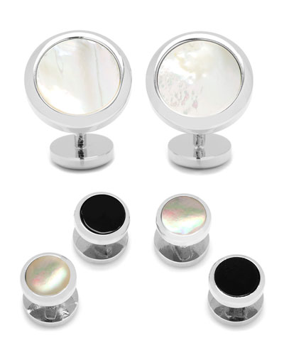 Double-Sided Onyx & Mother-of-Pearl Cuff Links & Stud Set  Silver