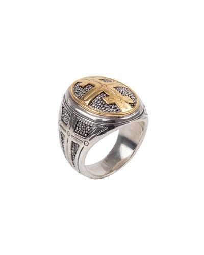 Men's 18k Gold Cross Oval Ring