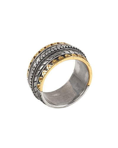 Men's Sterling Silver Band Ring w/ 18k Gold Trim