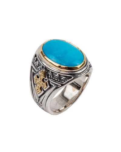 Men's Turquoise Sterling Silver Oval Ring w/ 18k Gold Trim
