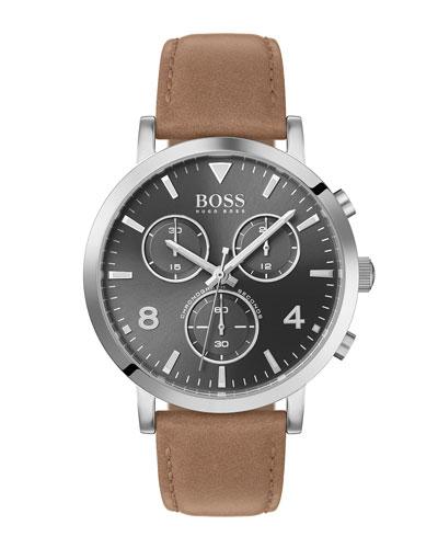 Men's Spirit Chronograph Watch with Beige Leather Strap