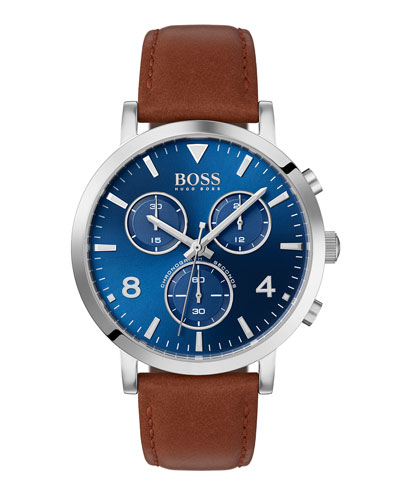 Men's Spirit Chronograph Watch with Leather Strap