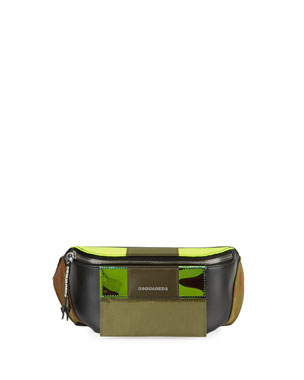 b35f4a55343 Dsquared2 Men s Small Leather Belt Bag w  Canvas Trim