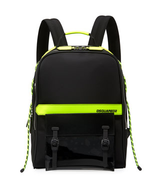 c7163b0dbc7 Dsquared2 Men s Multi-Zip Canvas Backpack w  Leather Trim