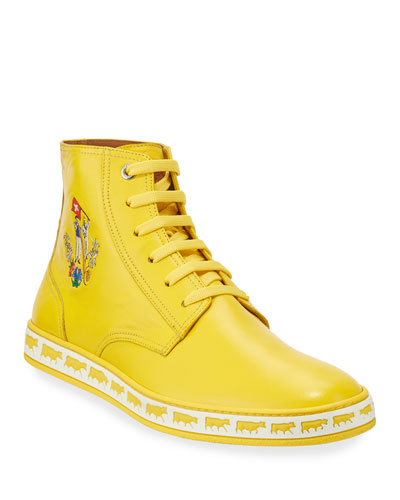Men's Alpistar Leather High-Top Sneakers  Yellow