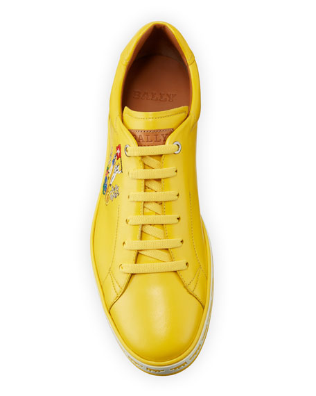 Bally Men's Anistern Leather Low-Top Sneakers, Yellow