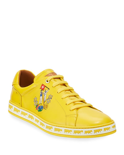 Men's Anistern Leather Low-Top Sneakers  Yellow