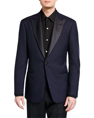 46ac273da826 Giorgio Armani Men s Tonal Cross-Diagonal Pattern Dinner Jacket
