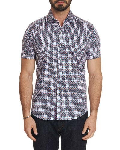 Men's Myron Trim Fit Micro-Floral Short-Sleeve Sport Shirt