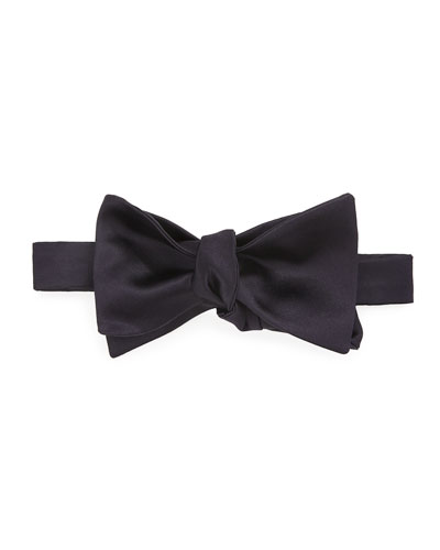 Basic Solid Silk and Cotton Bow Tie