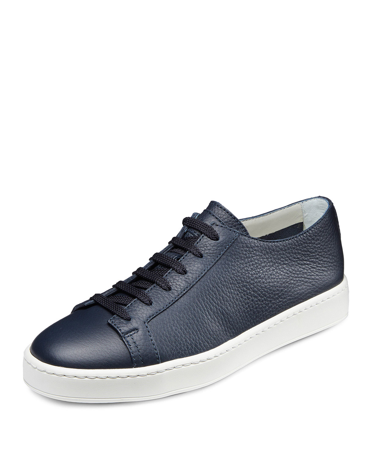 Santoni Navy Blue Clean Iconic Leather Low-Top Sneakers