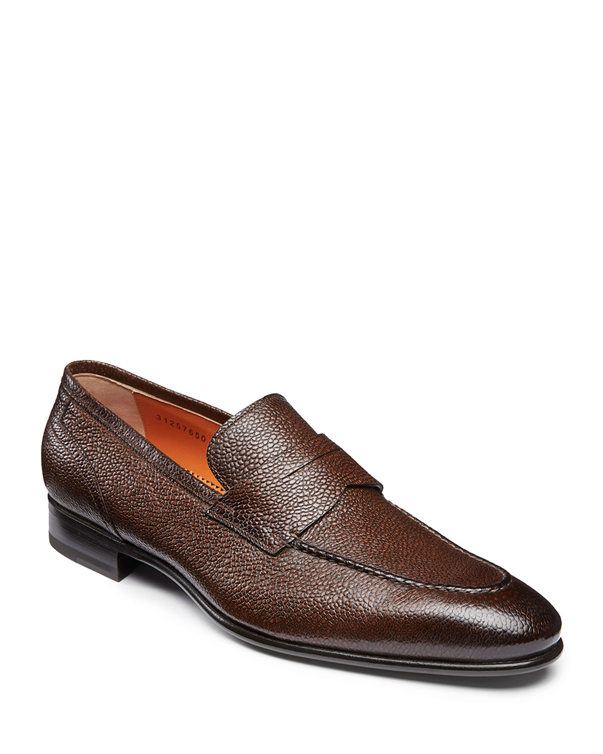 Santoni Felipe Brown Leather Penny Loafers