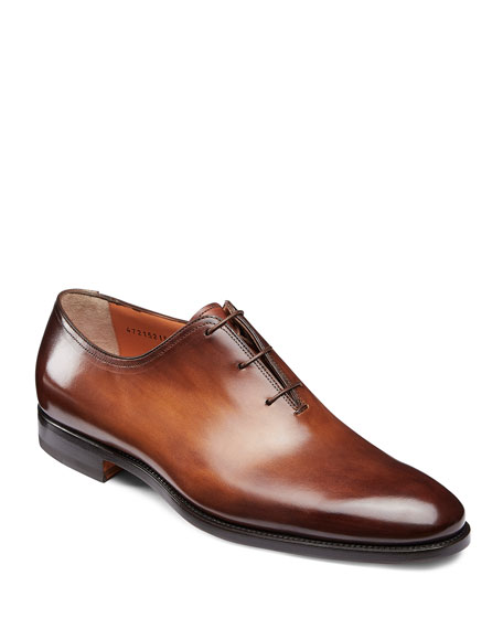 Santoni Leathers MEN'S LAURENCE ONE-PIECE LEATHER DRESS SHOES