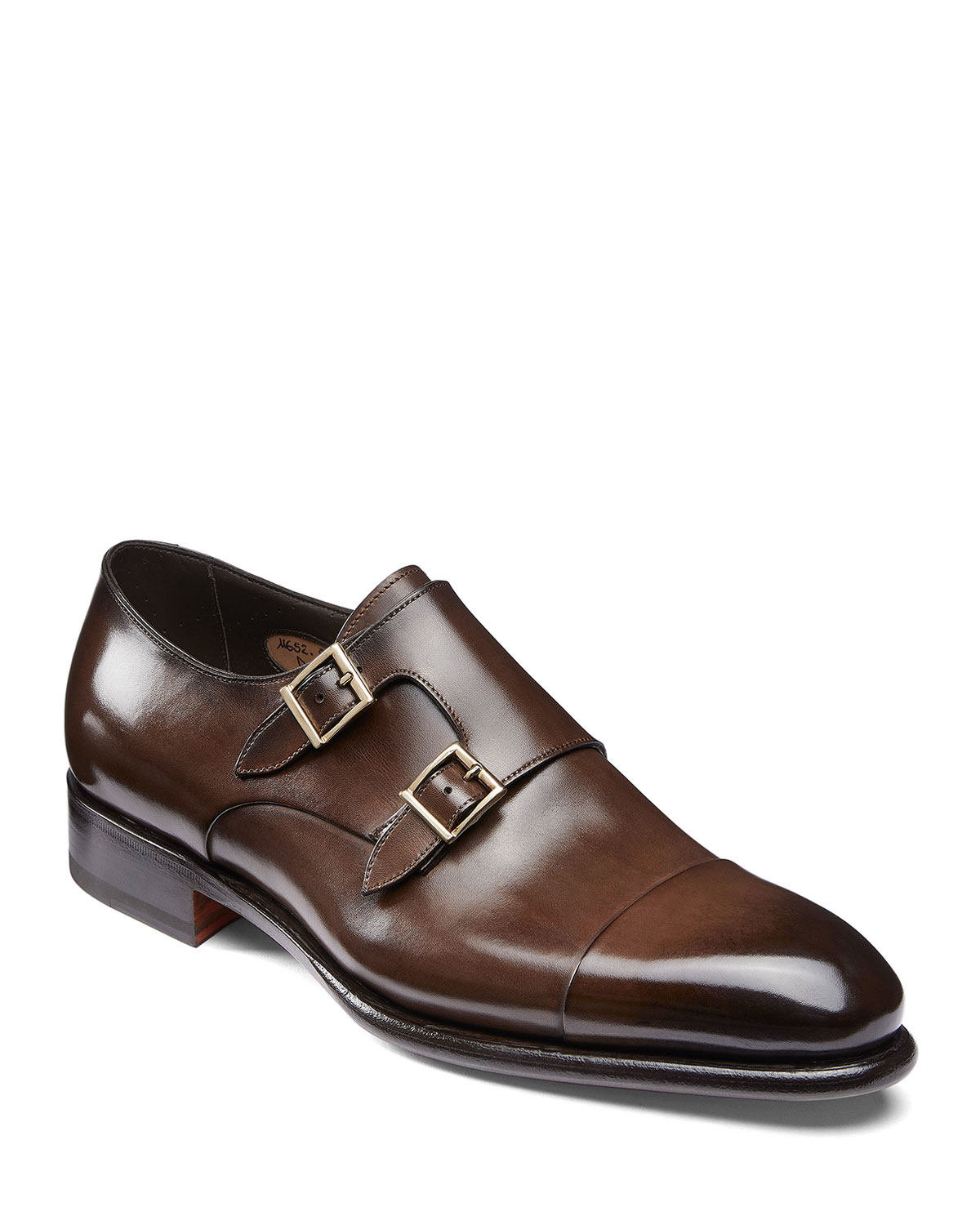 Santoni Ira Men's Brown Double-Monk Strap Loafers