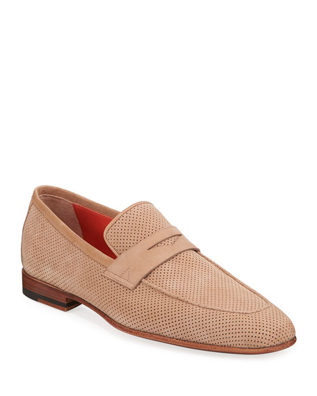 Santoni Loafers MEN'S FOSTER PERFORATED NUBUCK PENNY LOAFERS