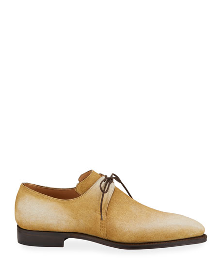 Image 3 of 3: Corthay Men's Arca Pullman Suede Lace-Up Shoes
