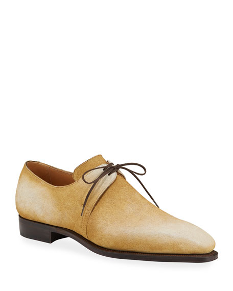Image 1 of 3: Corthay Men's Arca Pullman Suede Lace-Up Shoes