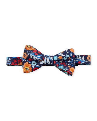Large Floral Silk Bow Tie