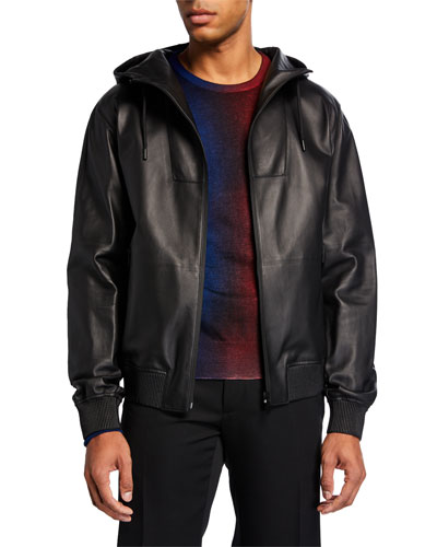 Men's Leather Zip-Front Jacket