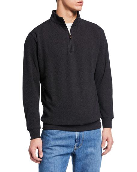 Peter Millar Sweaters MEN'S QUARTER-ZIP MELANGE TRI-BLEND FLEECE SWEATER