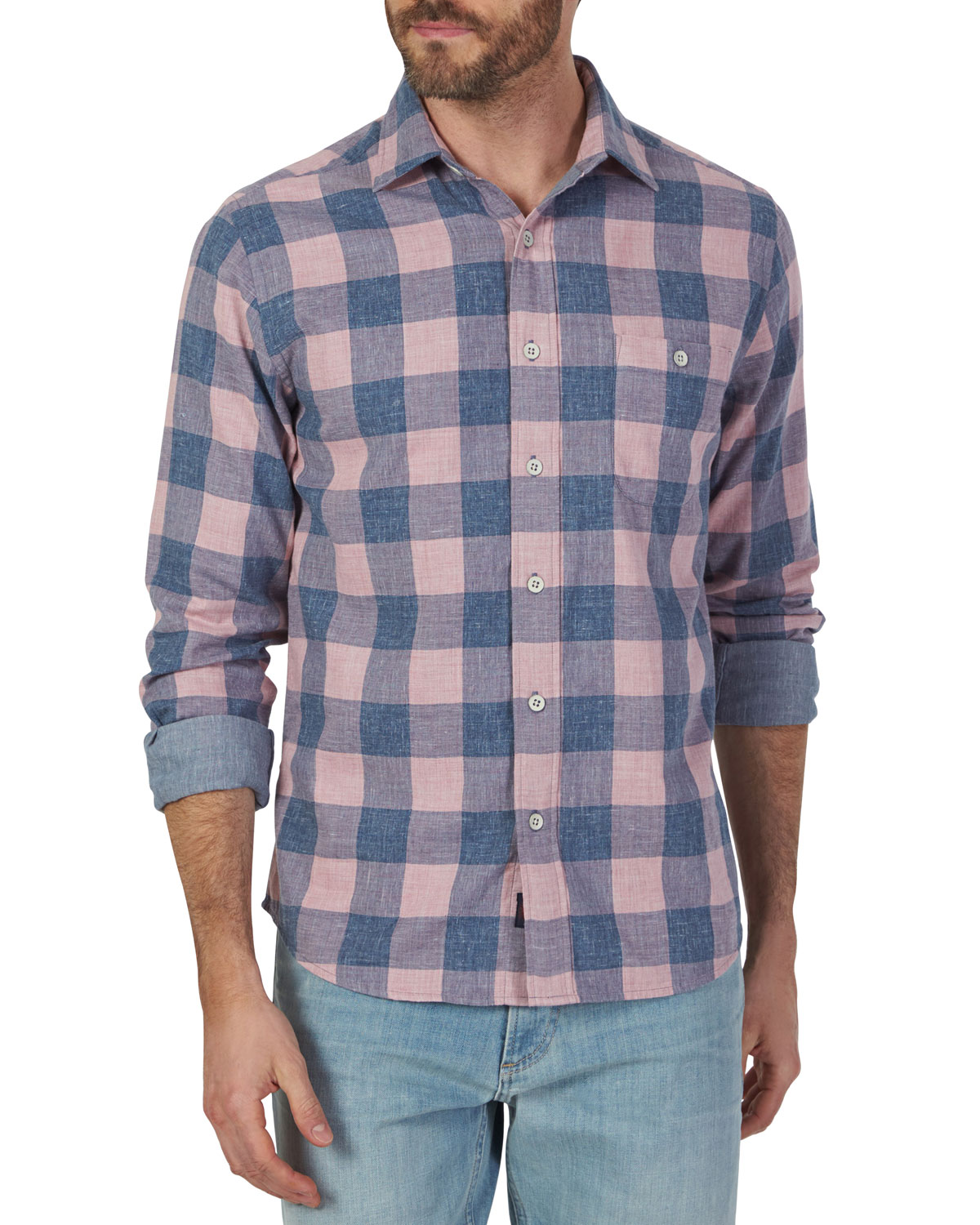 Faherty Seaview Double-Cloth Pink Plaid Sport Shirt