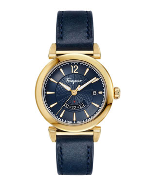 Salvatore Ferragamo Men s Feroni Gold IP GMT Watch with Blue Leather Strap 4f513adac3