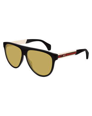 a167d62678f Gucci Men s Nylon Flat-Top Rounded Sunglasses