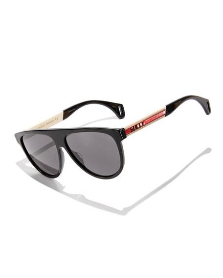 Gucci Men's Nylon Flat-Top Rounded Sunglasses