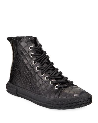 Men's Blabber Croc-Embossed High-Top Sneakers