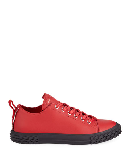 Giuseppe Zanotti Men's Blabber Low-Top Leather Sneakers, Red