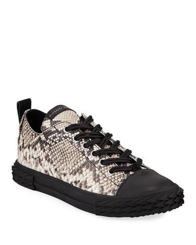 Men's Blabber Snake-Embossed Low-Top Sneakers