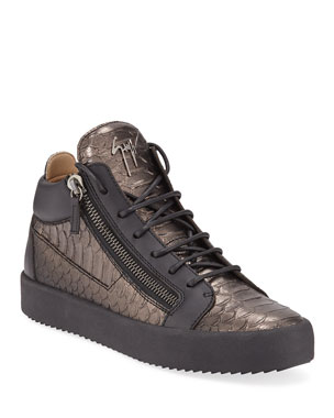 27ef3186407a6e Giuseppe Zanotti Men s London Metallic Mid-Top Zip Sneakers