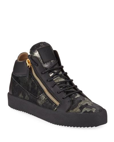 Men's Camo Double-Zip Mid-Top Sneakers