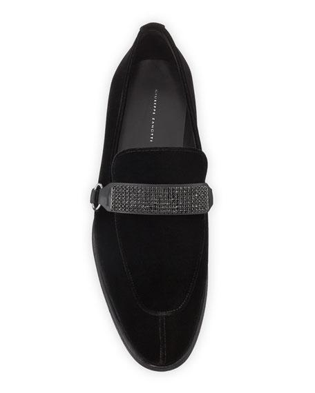 Giuseppe Zanotti Men's Seattle Crystal-Strap Velvet Loafers