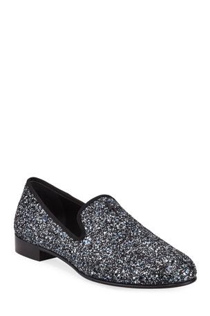 Giuseppe Zanotti Men's Kevin Glittered Slip-On Evening Shoes