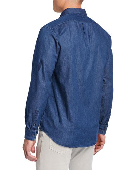 Michael Kors Men's Classic Double-Face Chambray Sport Shirt