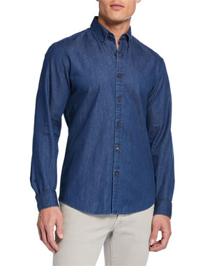 fee8f4bc148 Michael Kors Men s Classic Double-Face Chambray Sport Shirt