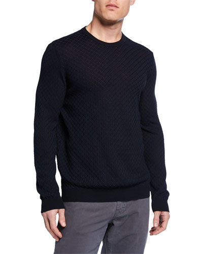 Men's Geometric Knit Crewneck Sweater