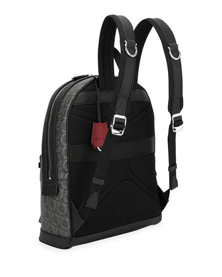 Salvatore Ferragamo Men's Gancini Leather-Trim Backpack