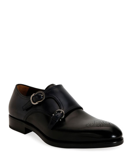Salvatore Ferragamo Men's Brighton Tramezza Double-Monk Leather Loafers