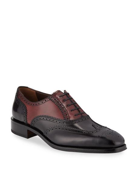 Salvatore Ferragamo Men's Tramezza Two-Tone Brogue Leather Oxford Shoes