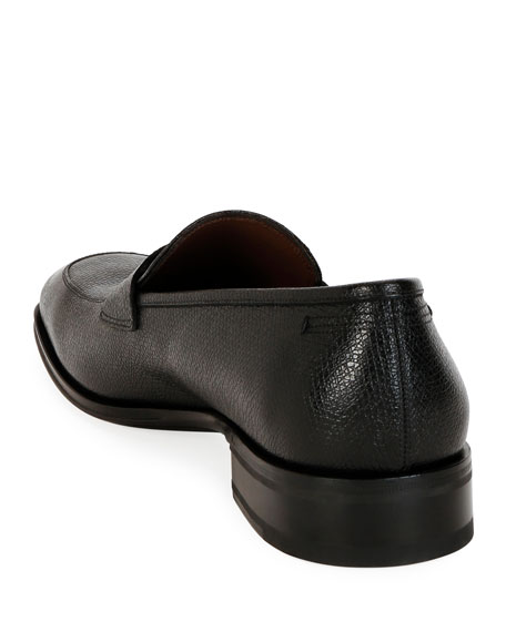 Image 3 of 4: Salvatore Ferragamo Men's Tito Textured Leather Penny Loafers