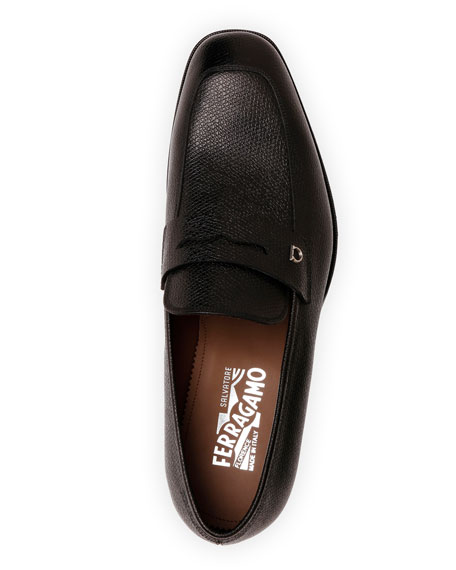 Image 4 of 4: Salvatore Ferragamo Men's Tito Textured Leather Penny Loafers