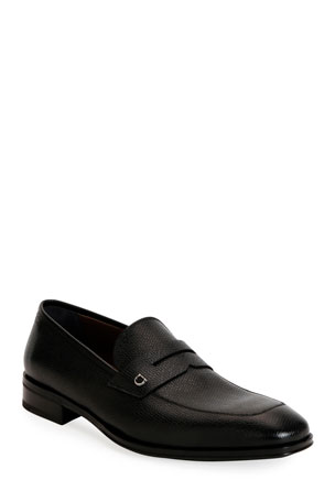 Salvatore Ferragamo Men's Tito Textured Leather Penny Loafers