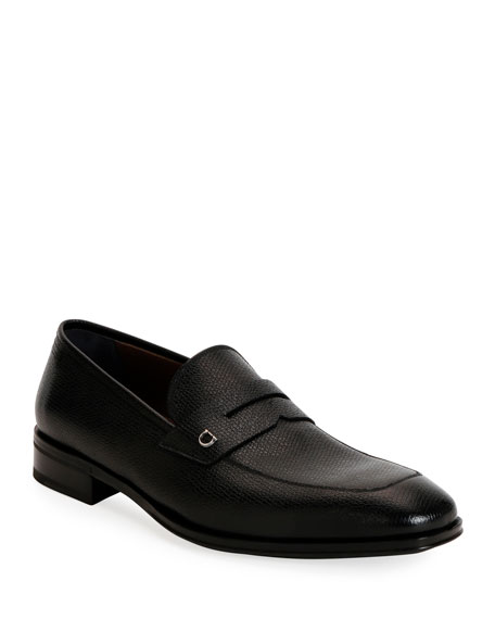 Image 1 of 4: Salvatore Ferragamo Men's Tito Textured Leather Penny Loafers