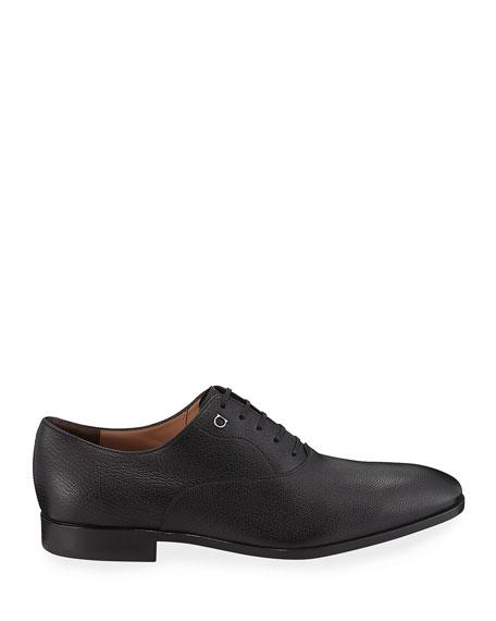 Salvatore Ferragamo Men's Toulouse Pebbled Leather Oxford Dress Shoe