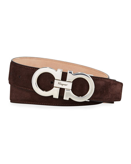 Salvatore Ferragamo Men's Calf Suede Gancini Belt