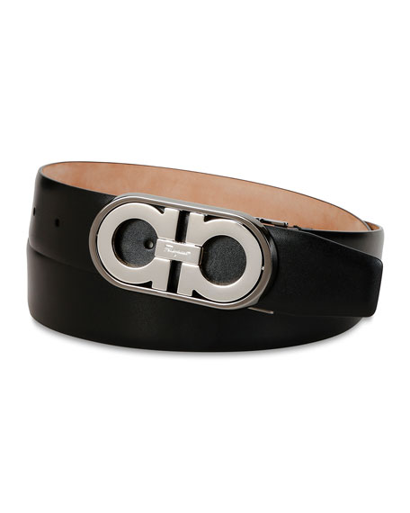 Salvatore Ferragamo Men's Gancini Logo Leather Belt